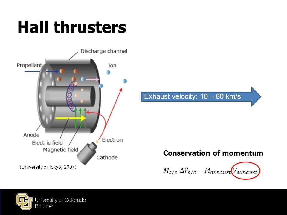 Hall thrusters (University of Tokyo, 2007) Exhaust velocity: 10 – 80 km/s