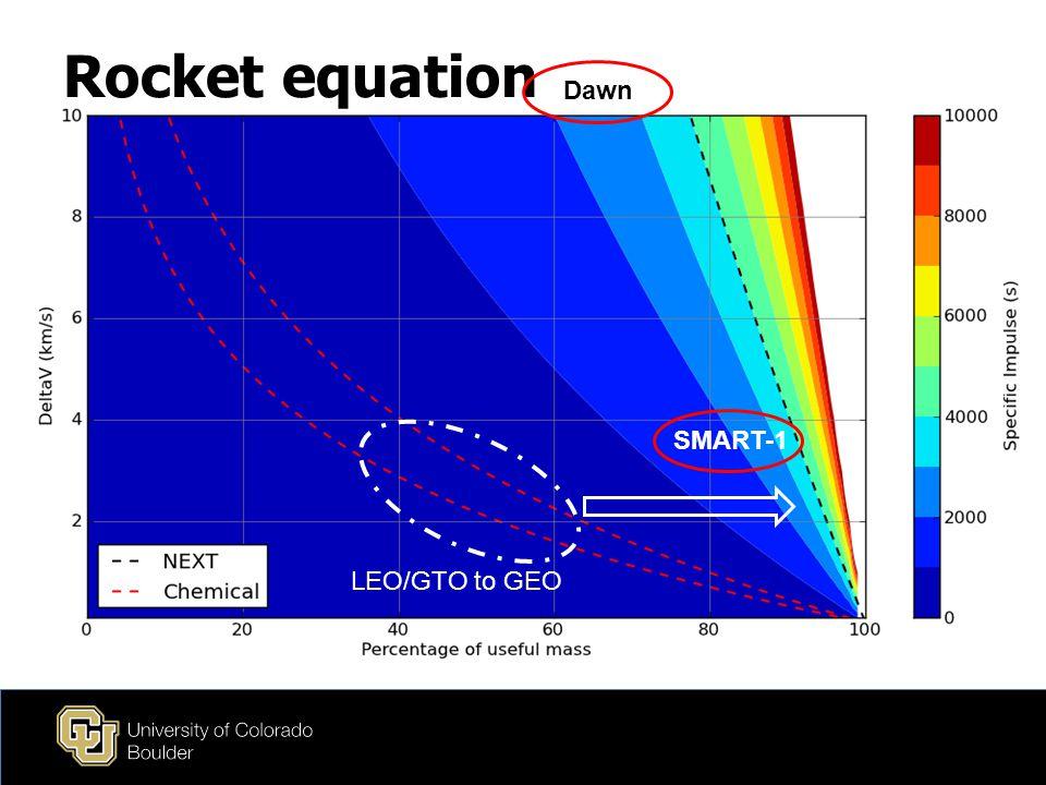 Rocket equation LEO/GTO to GEO SMART-1 Dawn