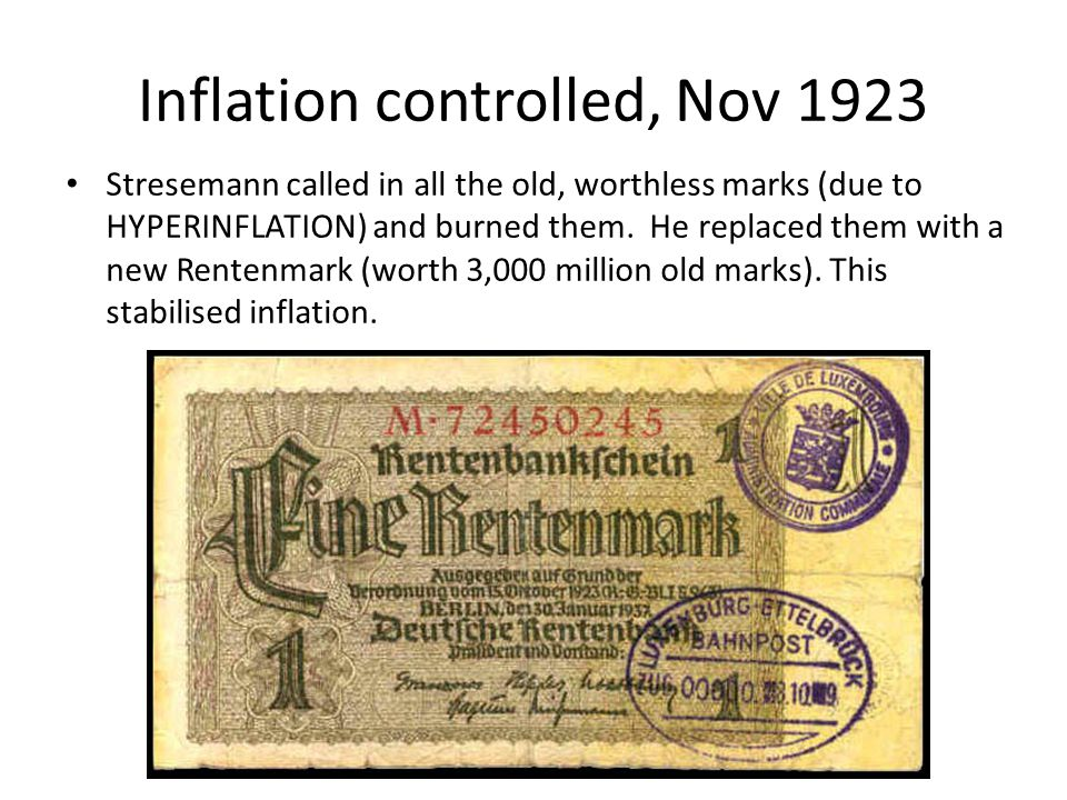 Dawes Plan 1924 Stresemann called off the 1923 Ruhr strike and started to pay reparations again – but the American Dawes Plan gave Germany longer to make the payments (and the Young Plan of 1929 reduced the payments).