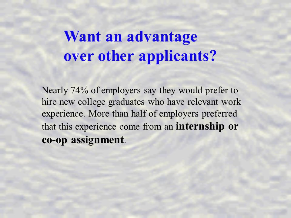 Want an advantage over other applicants.