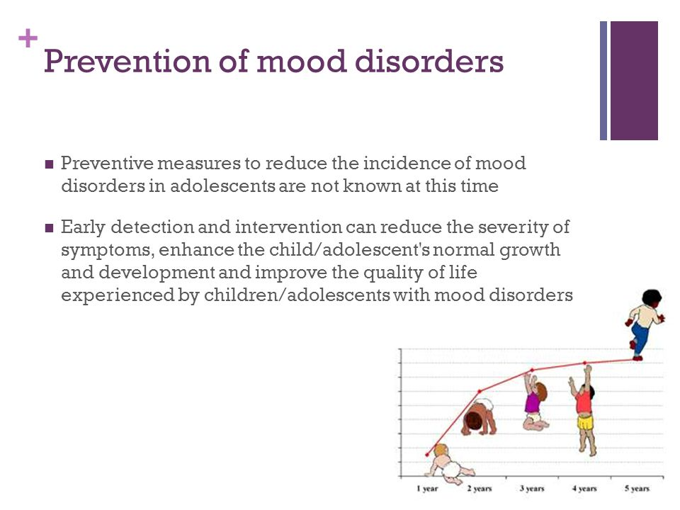 + Prevention of mood disorders Preventive measures to reduce the incidence of mood disorders in adolescents are not known at this time Early detection and intervention can reduce the severity of symptoms, enhance the child/adolescent s normal growth and development and improve the quality of life experienced by children/adolescents with mood disorders