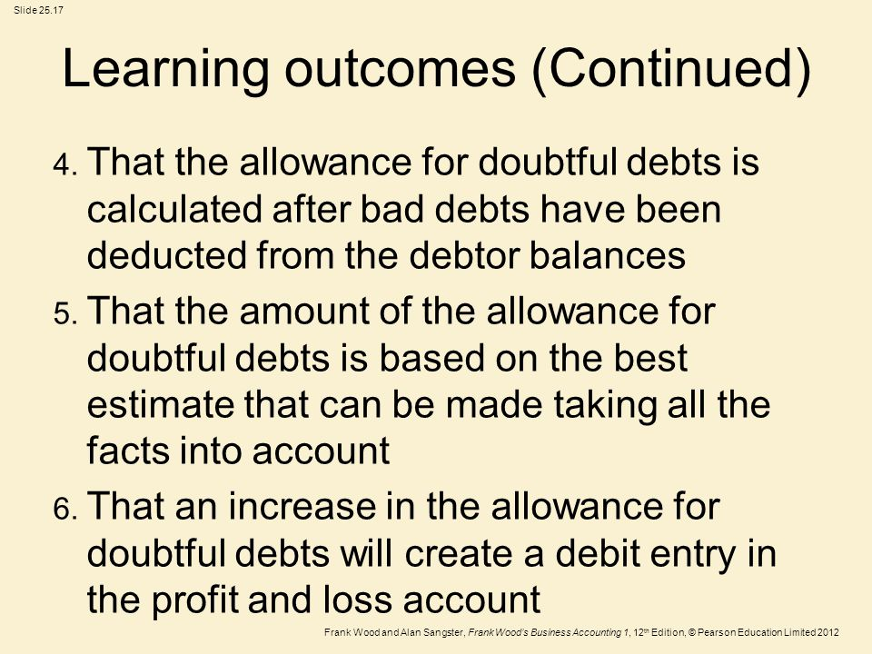 Frank Wood and Alan Sangster, Frank Wood's Business Accounting 1, 12 th Edition, © Pearson Education Limited 2012 Slide 25.17 Learning outcomes (Conti