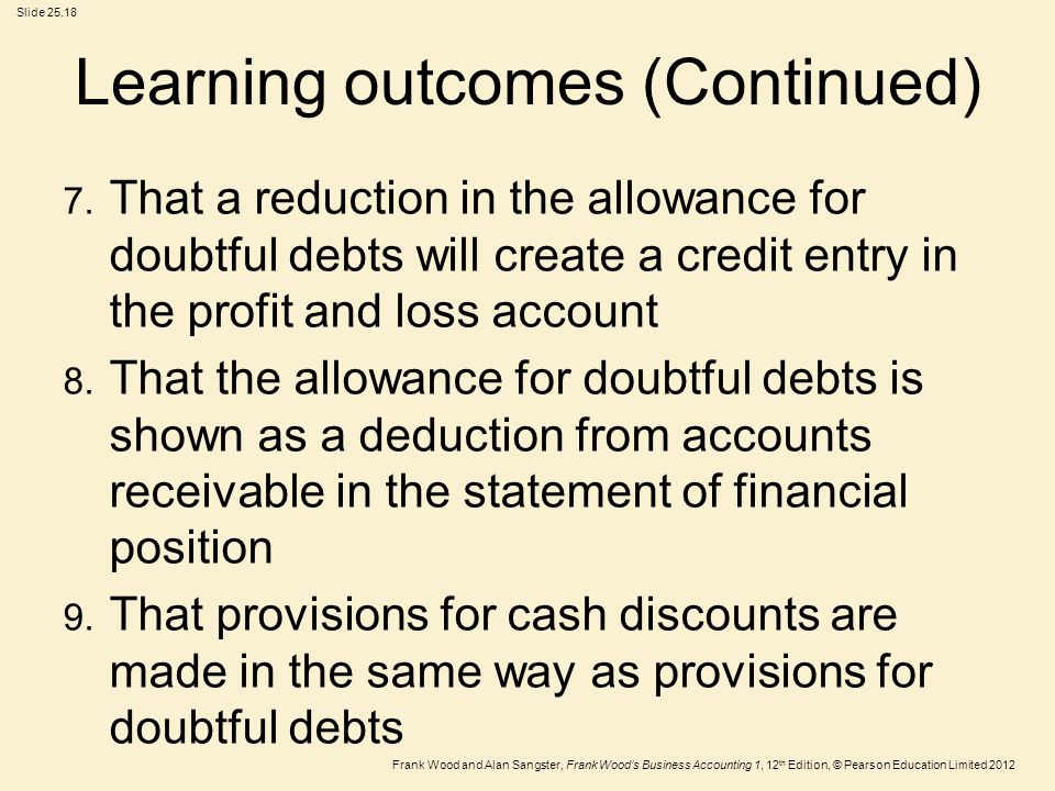 Frank Wood and Alan Sangster, Frank Wood's Business Accounting 1, 12 th Edition, © Pearson Education Limited 2012 Slide 25.18 Learning outcomes (Conti
