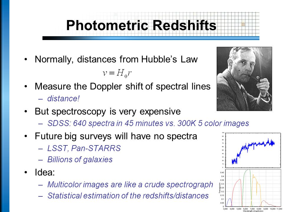 Photometric Redshifts Normally, distances from Hubble's Law Measure the Doppler shift of spectral lines –distance.