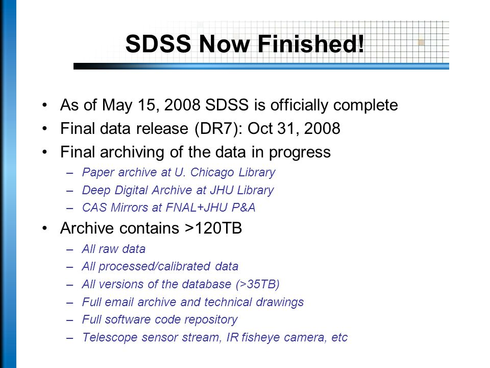 SDSS Now Finished.