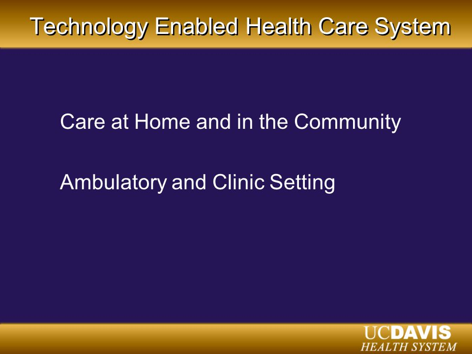 Technology Enabled Health Care System Care at Home and in the Community Ambulatory and Clinic Setting
