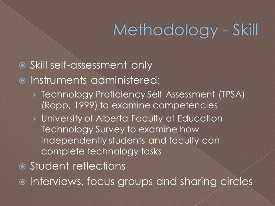  Skill self-assessment only  Instruments administered: › Technology Proficiency Self-Assessment (TPSA) (Ropp, 1999) to examine competencies › University of Alberta Faculty of Education Technology Survey to examine how independently students and faculty can complete technology tasks  Student reflections  Interviews, focus groups and sharing circles