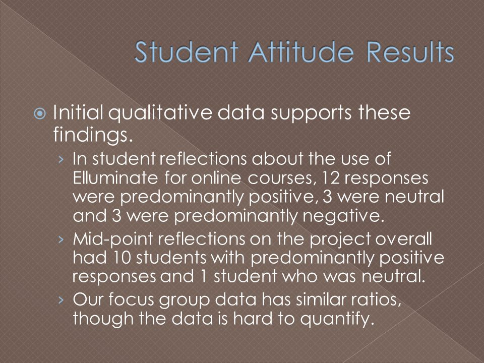  Initial qualitative data supports these findings.