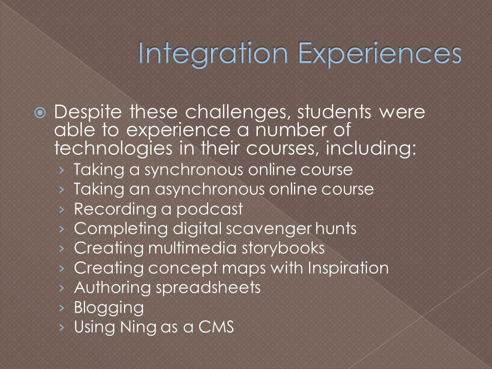  Despite these challenges, students were able to experience a number of technologies in their courses, including: › Taking a synchronous online course › Taking an asynchronous online course › Recording a podcast › Completing digital scavenger hunts › Creating multimedia storybooks › Creating concept maps with Inspiration › Authoring spreadsheets › Blogging › Using Ning as a CMS