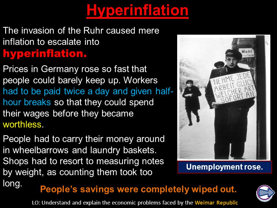 Weimar Republic hyperinflation from one to one trillion paper Marks per gold Mark.