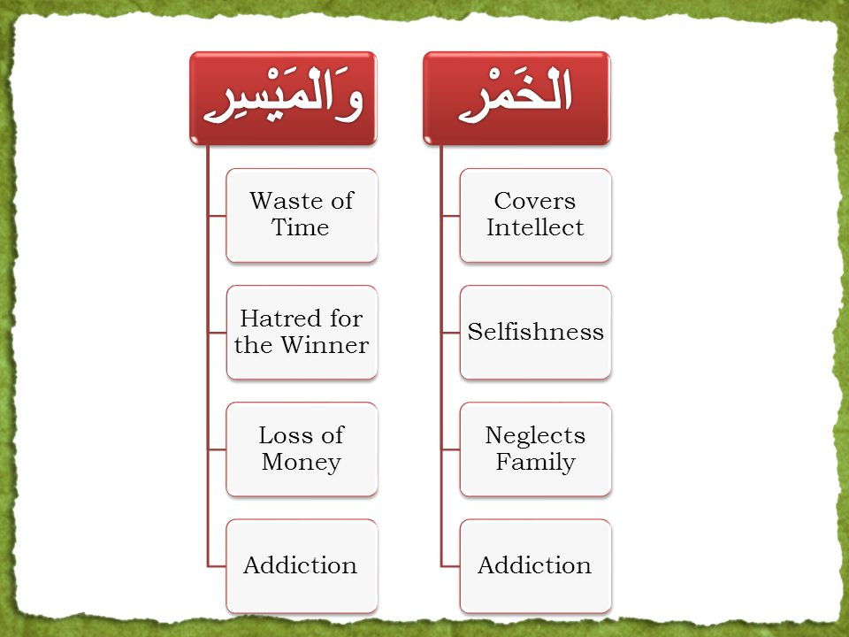 Waste of Time Hatred for the Winner Loss of Money Addiction Covers Intellect Selfishness Neglects Family Addiction