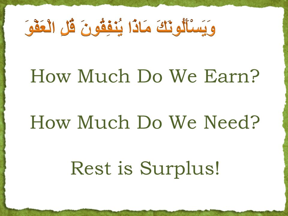 How Much Do We Earn. How Much Do We Need. Rest is Surplus.