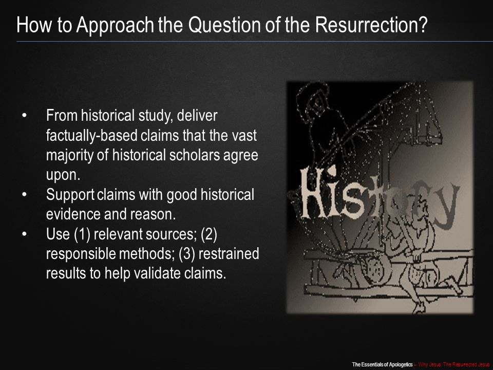 The Essentials of Apologetics – Why Jesus: The Resurrected Jesus Act of God/Resurrection Hypothesis Jesus predicted His death and resurrection multiple times in the presence of believers and skeptics.