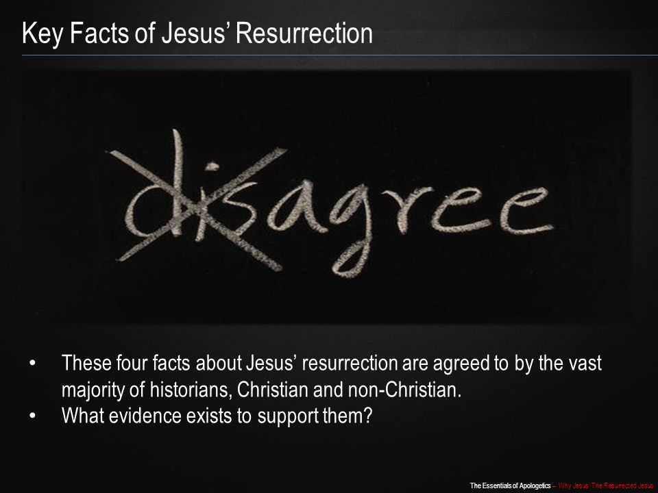 The Essentials of Apologetics – Why Jesus: The Resurrected Jesus Resurrection Hypothesis – Why Rejected.