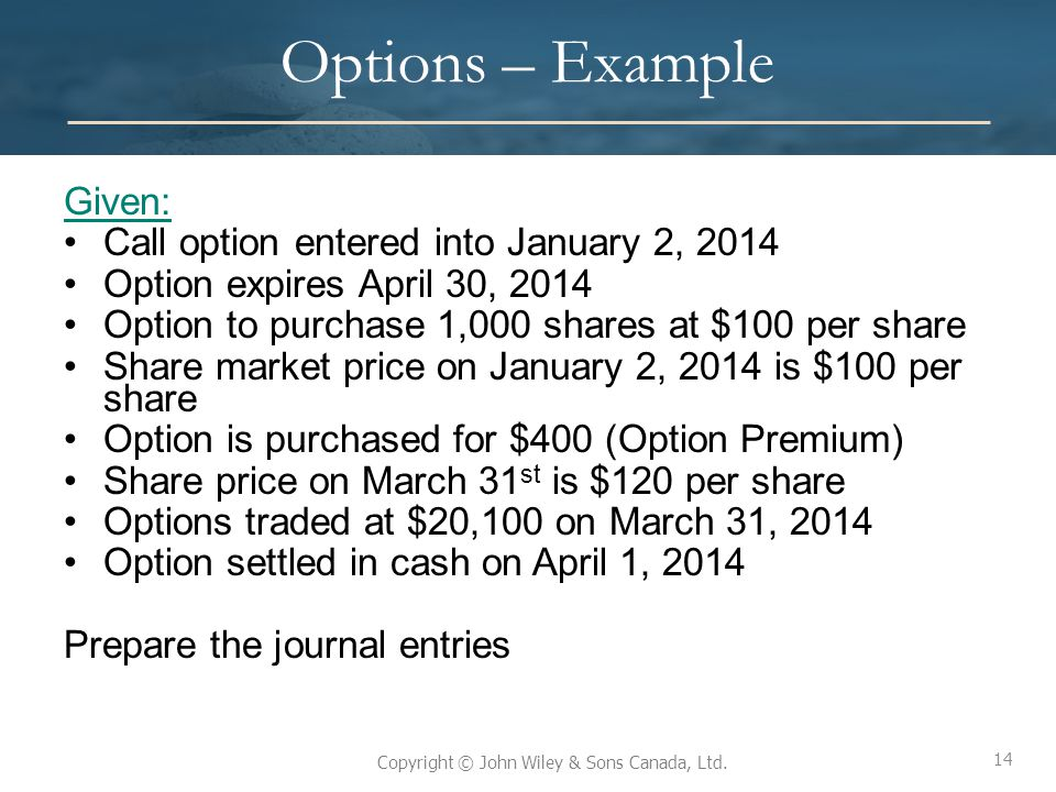 14 Copyright © John Wiley & Sons Canada, Ltd. Options – Example Given: Call option entered into January 2, 2014 Option expires April 30, 2014 Option t