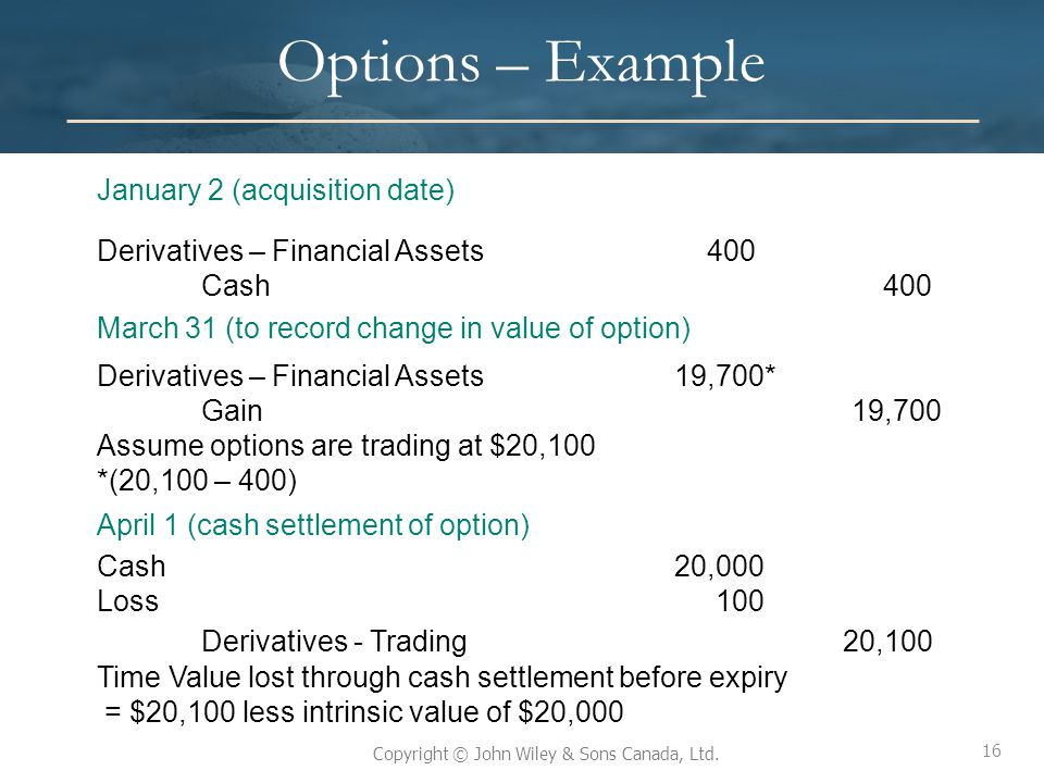 16 Copyright © John Wiley & Sons Canada, Ltd. Options – Example January 2 (acquisition date) Derivatives – Financial Assets 400 Cash 400 March 31 (to