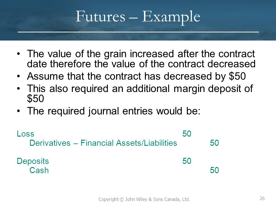 26 Copyright © John Wiley & Sons Canada, Ltd. Futures – Example The value of the grain increased after the contract date therefore the value of the co