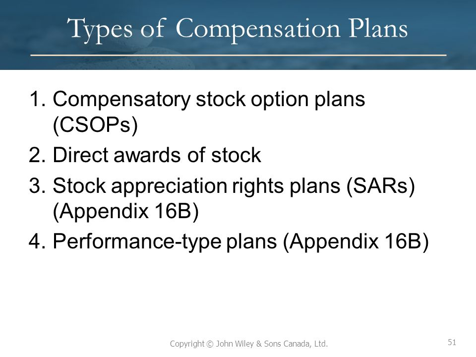 51 Copyright © John Wiley & Sons Canada, Ltd. Types of Compensation Plans 1.Compensatory stock option plans (CSOPs) 2.Direct awards of stock 3.Stock a