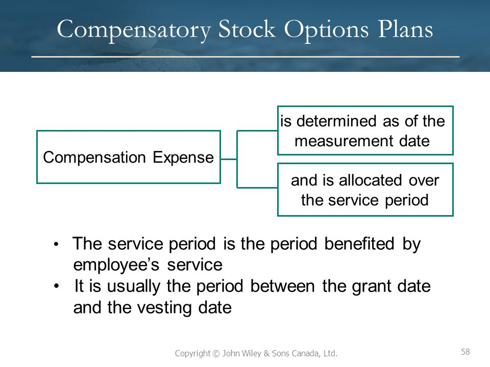 58 Copyright © John Wiley & Sons Canada, Ltd. Compensatory Stock Options Plans 58 Compensation Expense is determined as of the measurement date and is