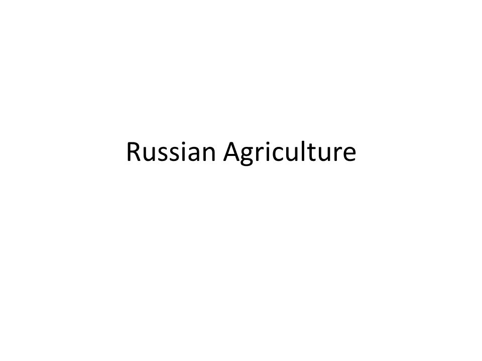 Russian Agriculture