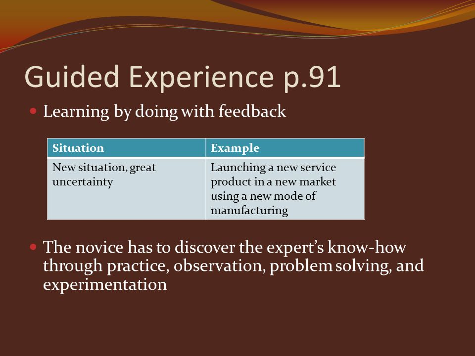 Guided Experience p.91 Learning by doing with feedback The novice has to discover the expert's know-how through practice, observation, problem solving, and experimentation SituationExample New situation, great uncertainty Launching a new service product in a new market using a new mode of manufacturing