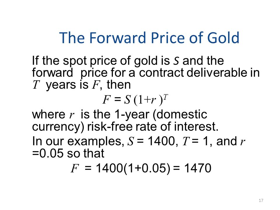 The Forward Price of Gold If the spot price of gold is S and the forward price for a contract deliverable in T years is F, then F = S (1+r ) T where r is the 1-year (domestic currency) risk-free rate of interest.