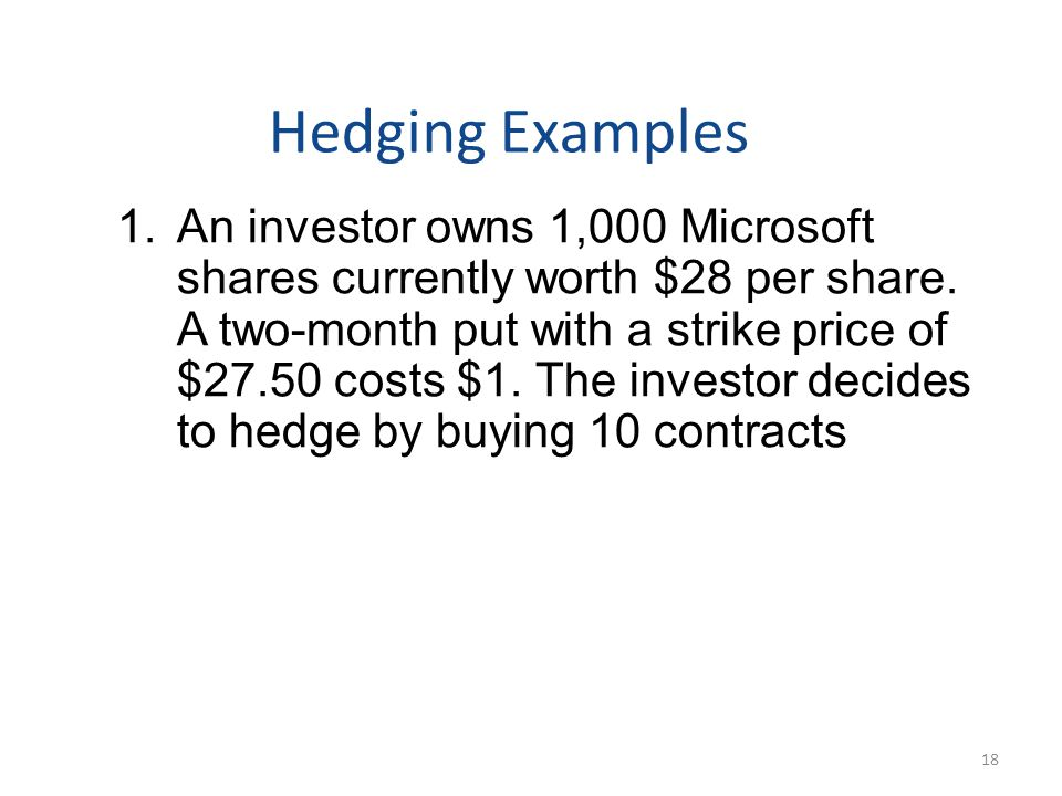 Hedging Examples 1.An investor owns 1,000 Microsoft shares currently worth $28 per share.