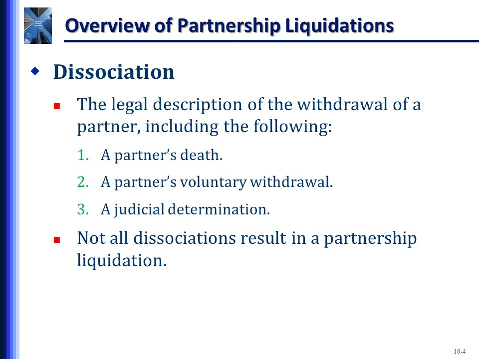 16-45 Installment Liquidations  The effect of distributing cash to partners based on either (a) schedules of safe payments or (b) cash distribution plans is to bring the capital balances into the profit-and-loss sharing ratio.