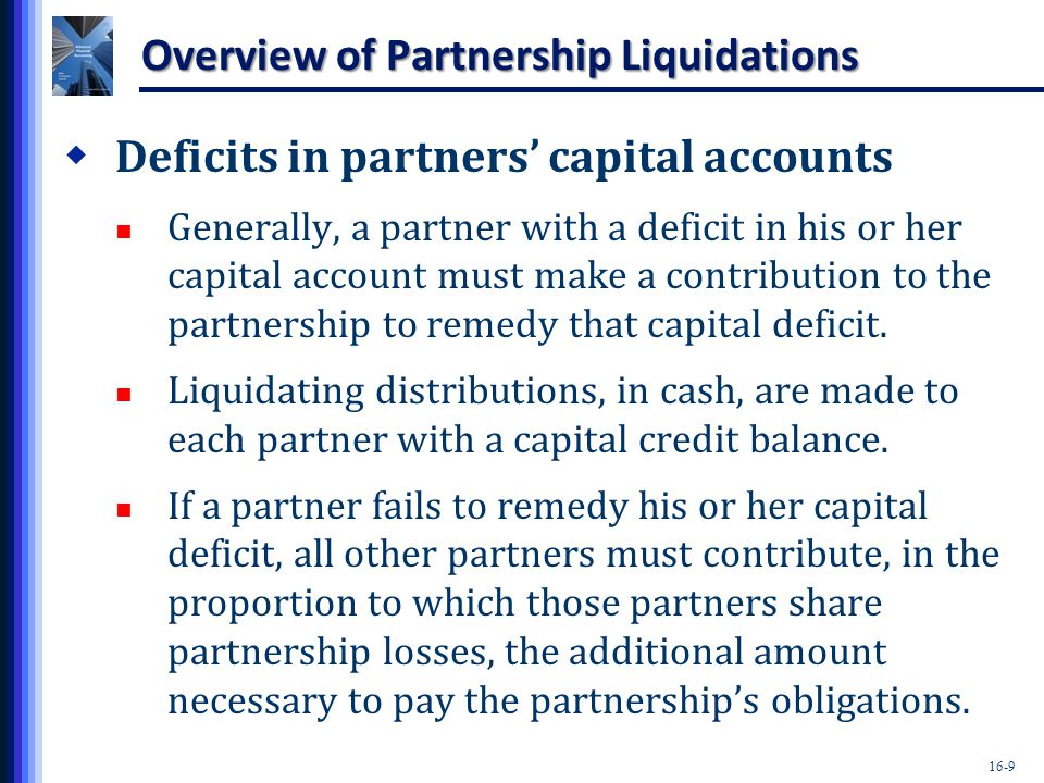 16-10 Overview of Partnership Liquidations  Statement of partnership realization and liquidation May be prepared to guide and summarize the partnership liquidation process.