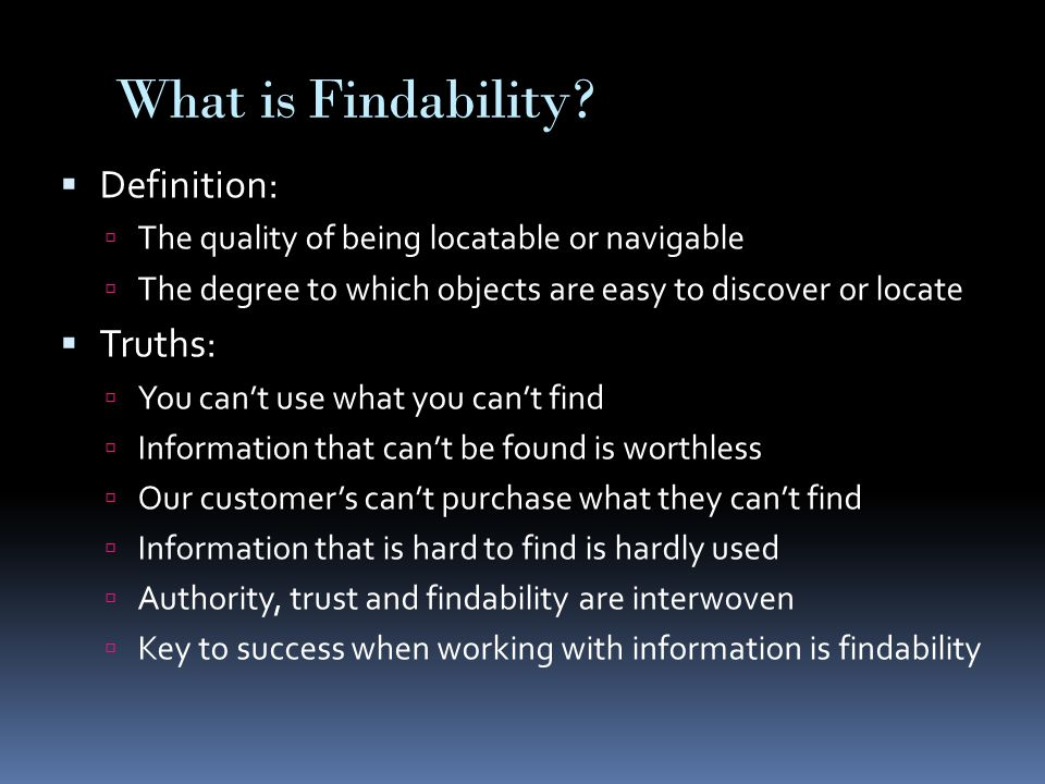 What is Findability.