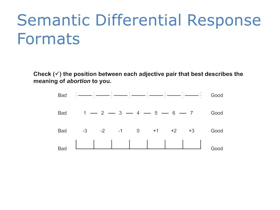 Semantic Differential Response Formats