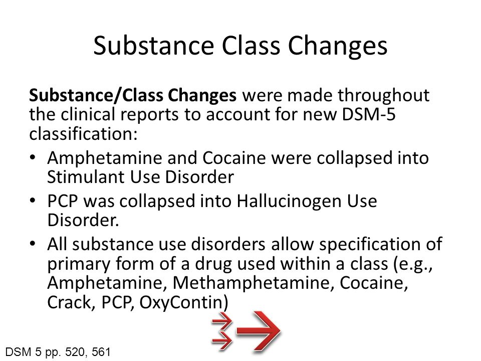 Substance Class Changes Substance/Class Changes were made throughout the clinical reports to account for new DSM-5 classification: Amphetamine and Cocaine were collapsed into Stimulant Use Disorder PCP was collapsed into Hallucinogen Use Disorder.
