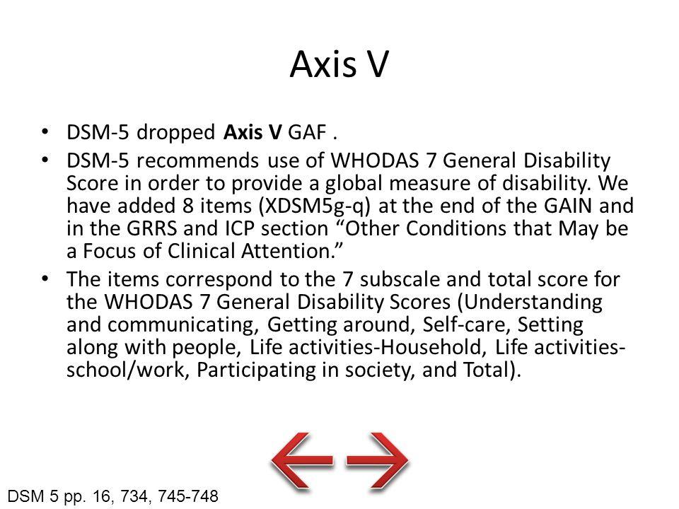 Axis V DSM-5 dropped Axis V GAF.