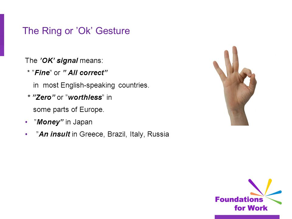 "The Ring or 'Ok' Gesture The 'OK' signal means: * ""Fine"" or "" All correct"" in most English-speaking countries. * ""Zero"" or ""worthless"" in some parts o"