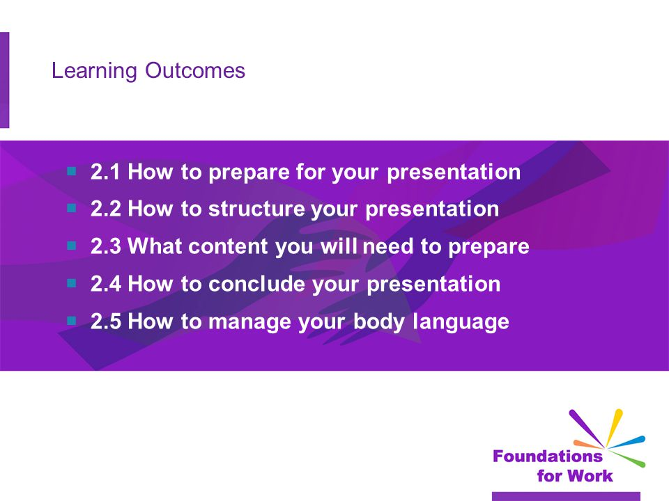 Learning Outcomes  2.1 How to prepare for your presentation  2.2 How to structure your presentation  2.3 What content you will need to prepare  2.
