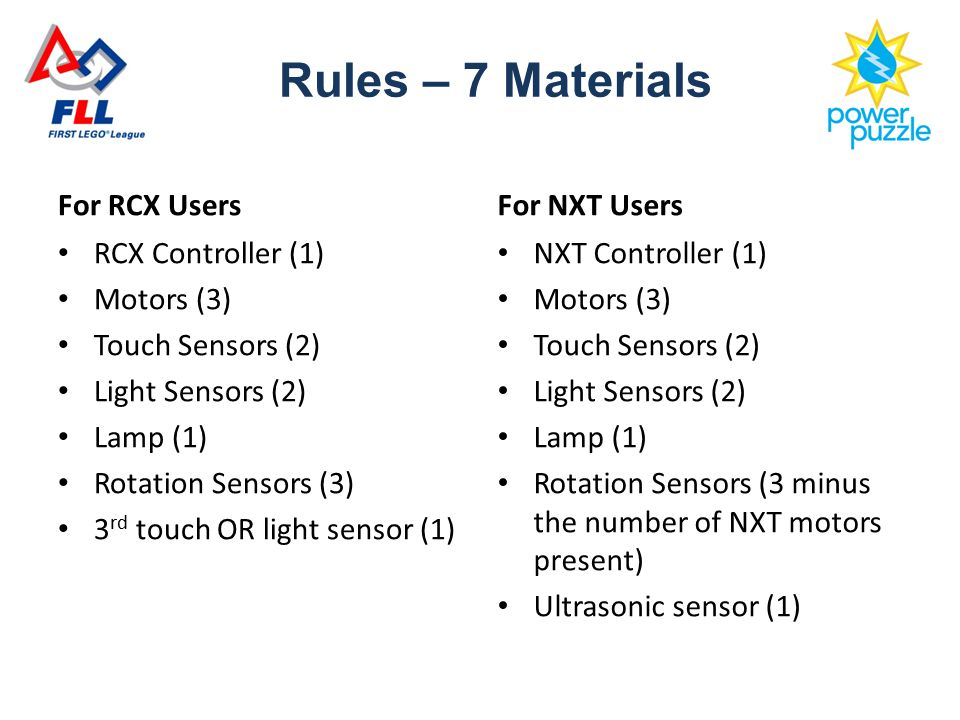 For RCX Users RCX Controller (1) Motors (3) Touch Sensors (2) Light Sensors (2) Lamp (1) Rotation Sensors (3) 3 rd touch OR light sensor (1) For NXT Users NXT Controller (1) Motors (3) Touch Sensors (2) Light Sensors (2) Lamp (1) Rotation Sensors (3 minus the number of NXT motors present) Ultrasonic sensor (1) Rules – 7 Materials