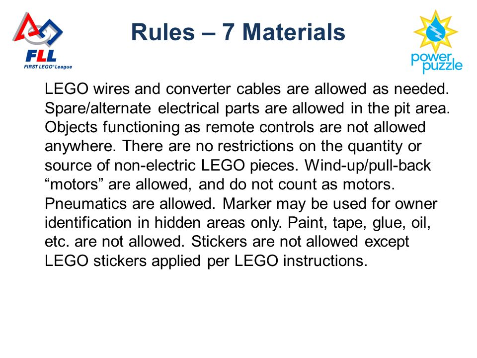 LEGO wires and converter cables are allowed as needed.