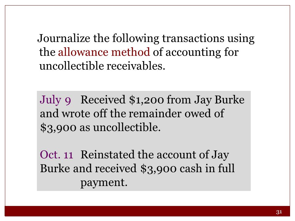 31 Journalize the following transactions using the allowance method of accounting for uncollectible receivables.