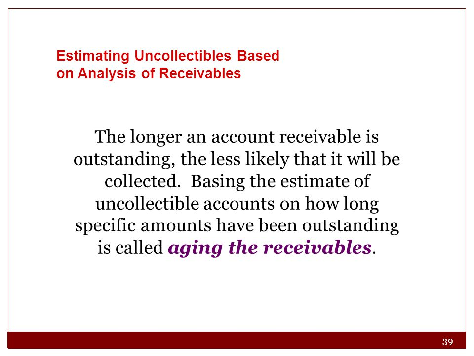 39 The longer an account receivable is outstanding, the less likely that it will be collected.