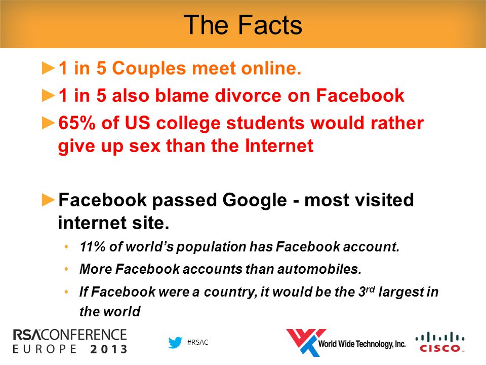 #RSAC The Facts ►1 in 5 Couples meet online.
