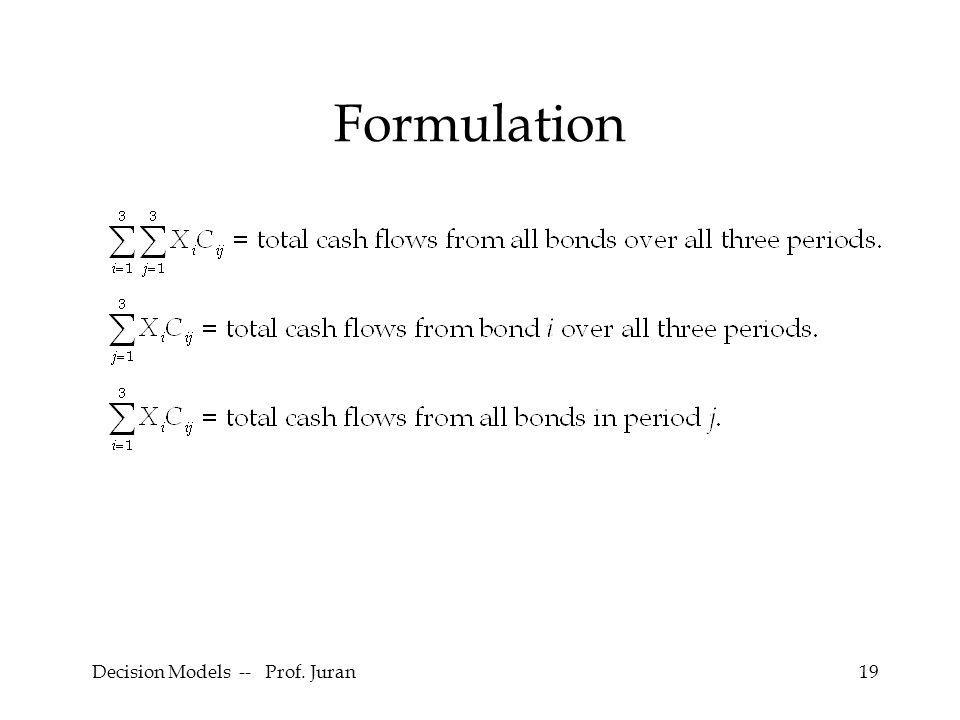 Decision Models -- Prof. Juran19 Formulation