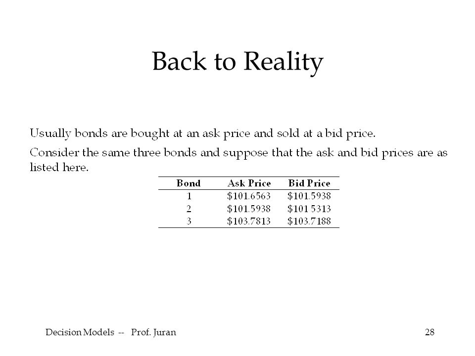 Decision Models -- Prof. Juran28 Back to Reality