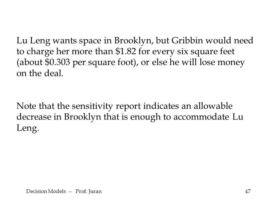 Decision Models -- Prof. Juran47 Lu Leng wants space in Brooklyn, but Gribbin would need to charge her more than $1.82 for every six square feet (abou