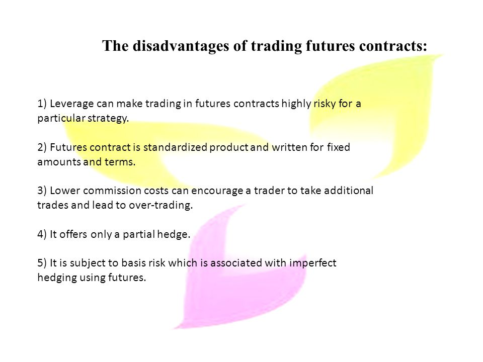 The disadvantages of trading futures contracts: 1) Leverage can make trading in futures contracts highly risky for a particular strategy.