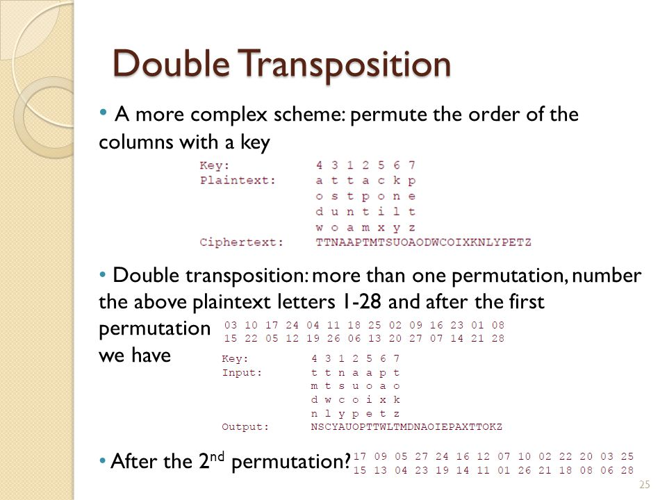 Double Transposition 25 A more complex scheme: permute the order of the columns with a key Double transposition: more than one permutation, number the