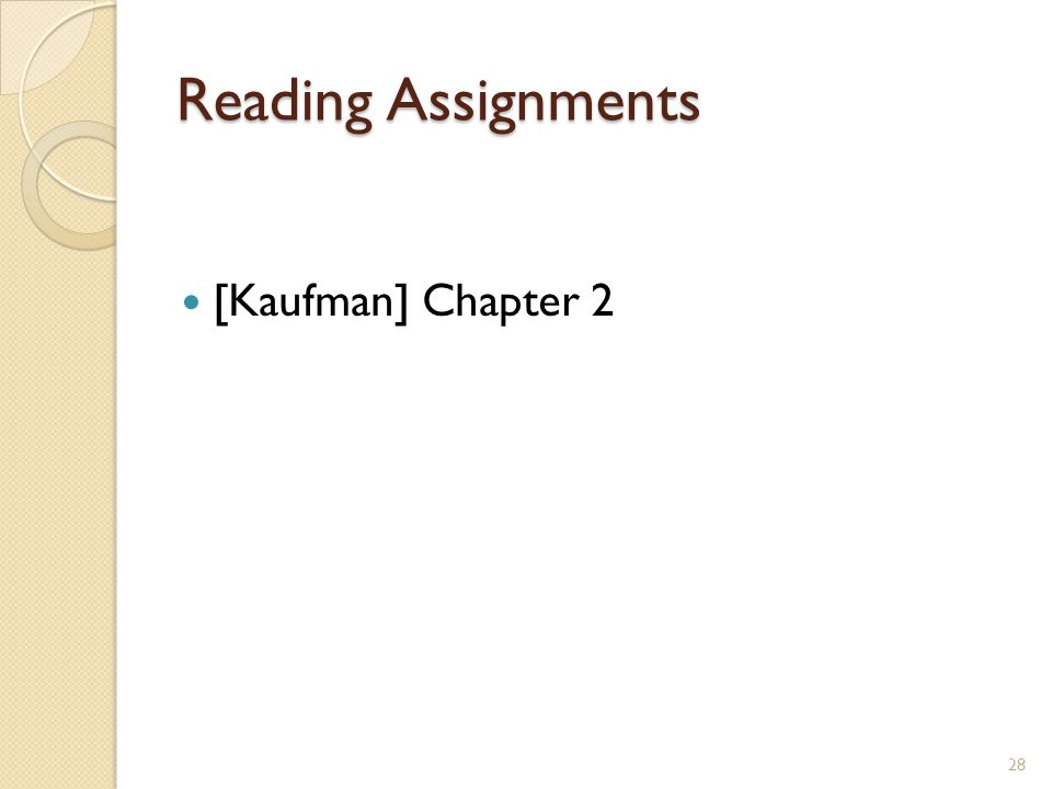 Reading Assignments [Kaufman] Chapter 2 28