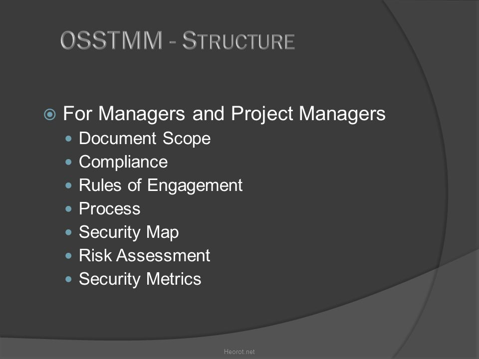  For Managers and Project Managers Document Scope Compliance Rules of Engagement Process Security Map Risk Assessment Security Metrics Heorot.net