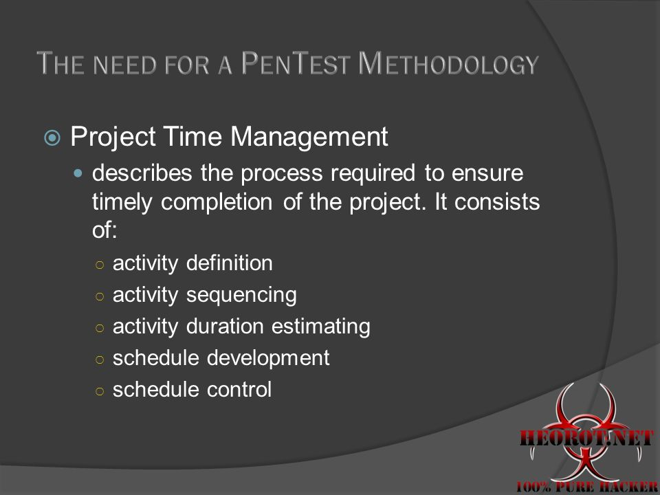  Project Time Management describes the process required to ensure timely completion of the project.