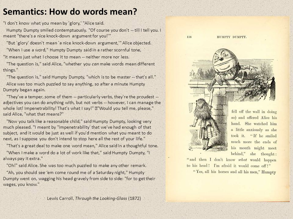 Semantics: How do words mean. I don t know what you mean by glory, Alice said.