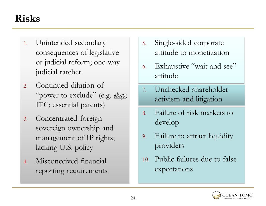 "24 Risks 1. Unintended secondary consequences of legislative or judicial reform; one-way judicial ratchet 2. Continued dilution of ""power to exclude"""